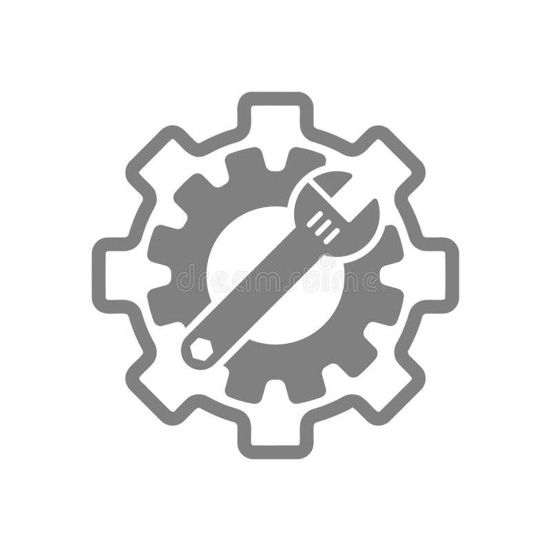 Spanner, repair, wrench, industry, screwdriver, gear, settings, equipment, service, maintenance, work tool grey color icon. Work spanner repair hammer wrench vector illustration