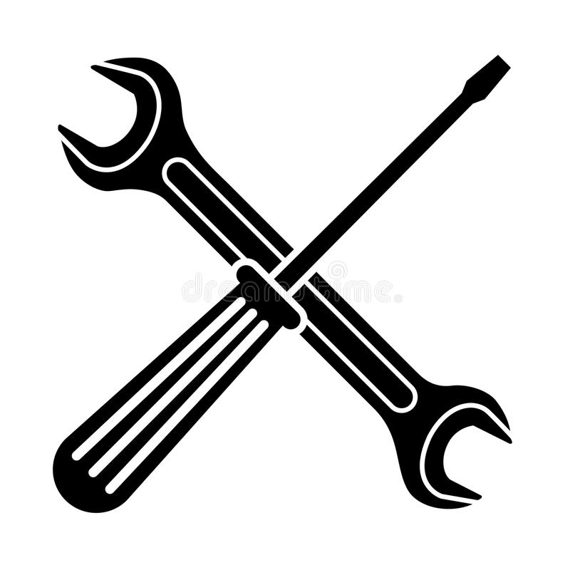 Spanner and Screwdriver icon. On white background. Vector illustration stock illustration
