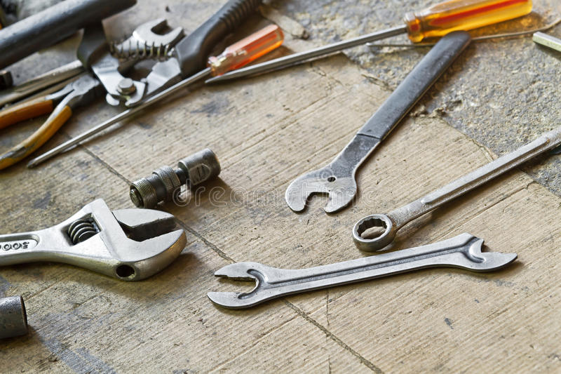 Spanner. And tools for bike repairing stock photo