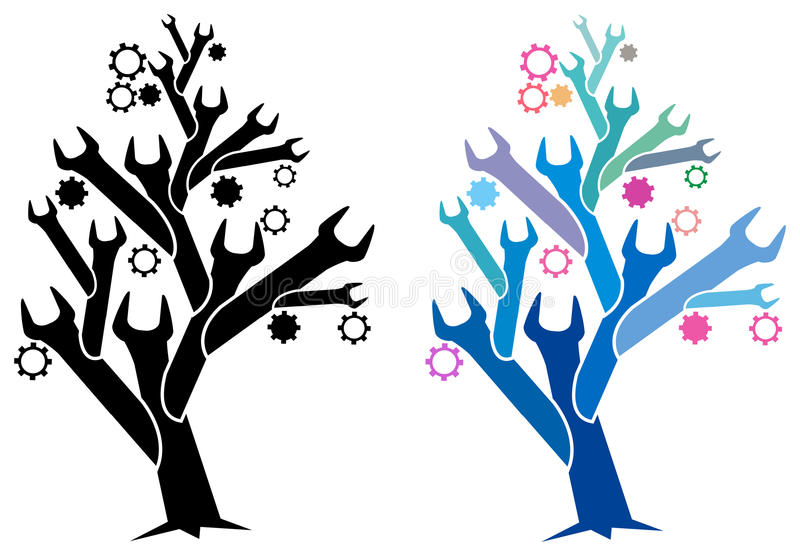 Spanner tree. Illustration of spanner tree image with isolated white background royalty free illustration