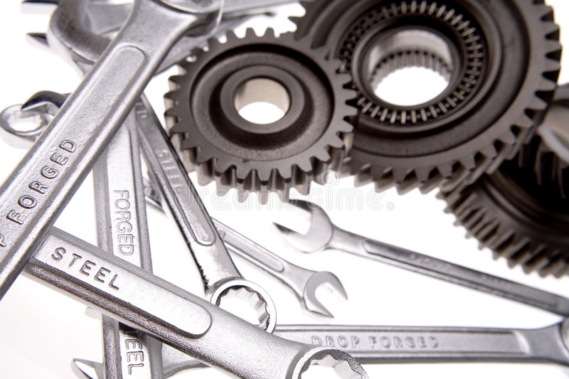 Spanners & cogs royalty free stock photo