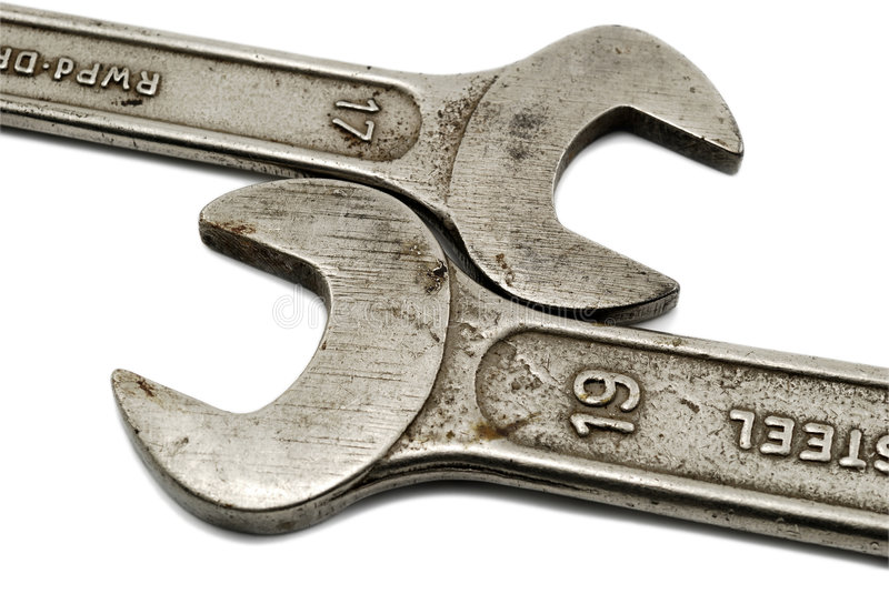 Spanners Isolated On White Stock Image