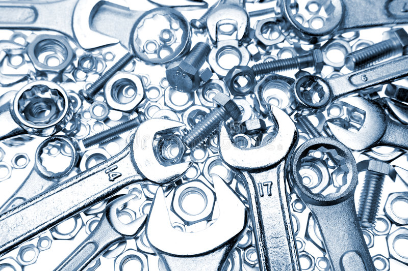 Download Spanners, nuts and bolts stock image. Image of iron, tools - 4593987