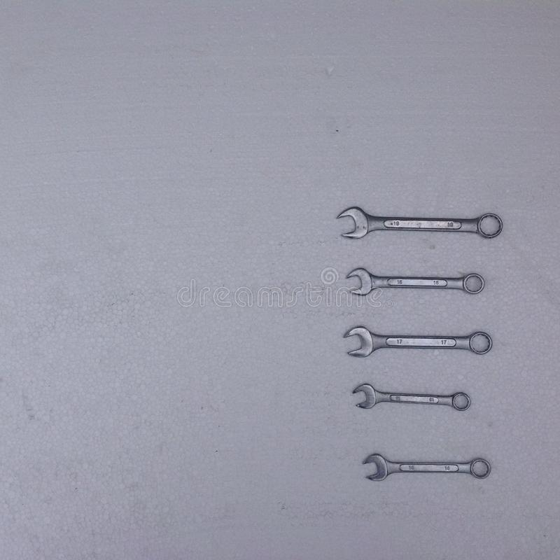 Spanners on a white background royalty free stock image