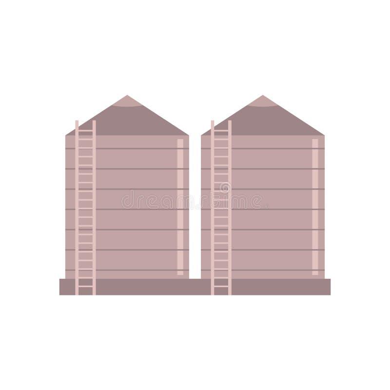 Spannmålsmagasinlantgårdkonstruktion - vektorillustration av bytornet som lagrar material i stora partier stock illustrationer