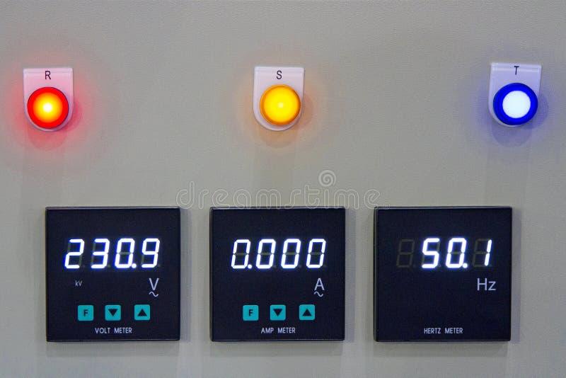 Spannungsmessungs-Schaltkasten, Watt Frequenz- stockbilder