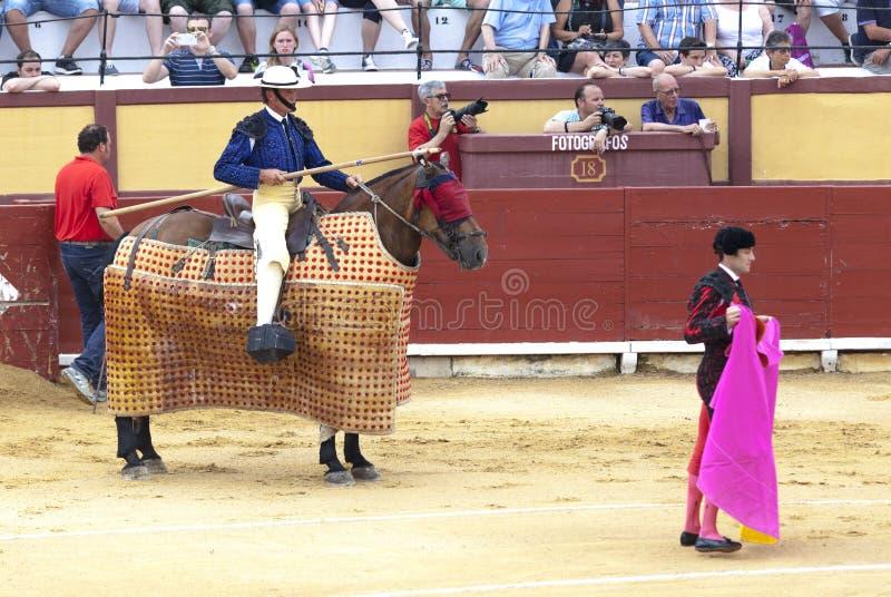 Spansk bullfight Picador med ett spjut på en häst De arga tjurattackerna tjurfäktaren Spanien 2017 07 25 2017 Vinaros Monume royaltyfri foto
