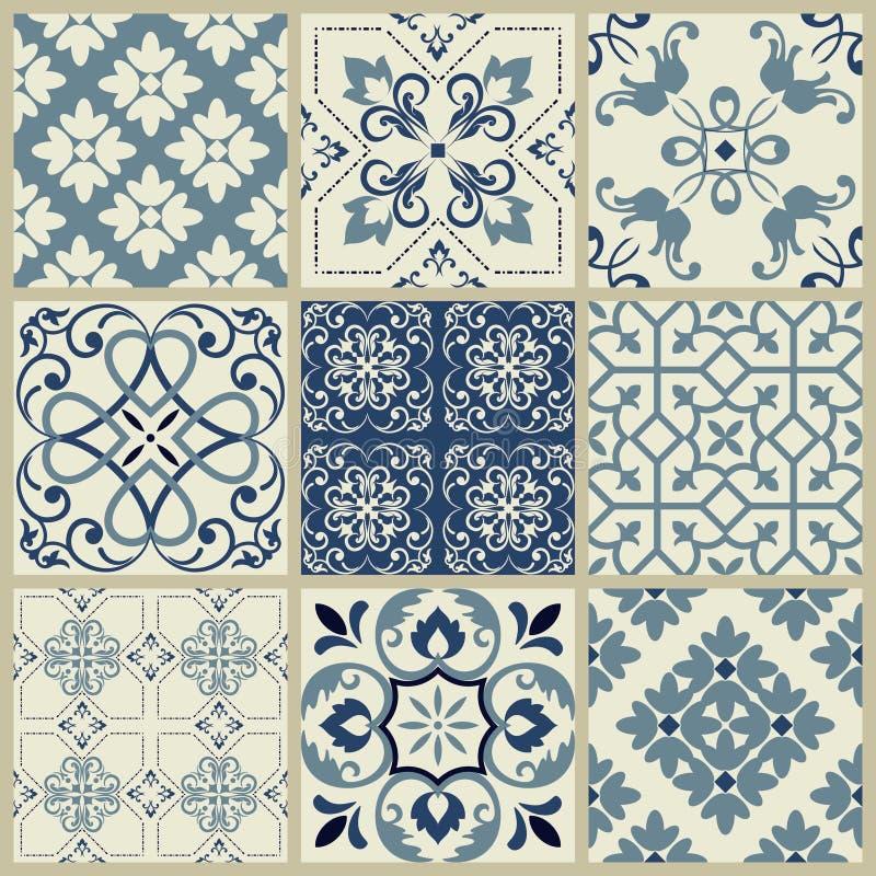 Spansk eller portugisisk vektortegelplattamodell, Lissabon blom- mosaik, medelhavs- s?ml?s marinbl? prydnad dekorativ tegelplatta vektor illustrationer