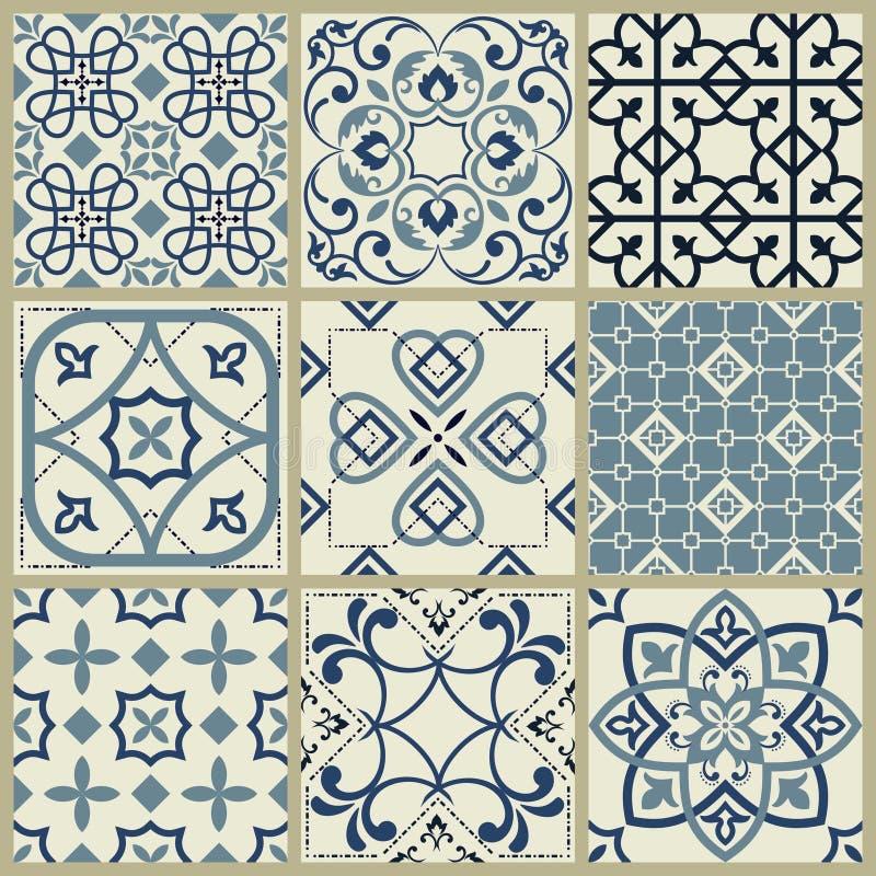 Spansk eller portugisisk vektortegelplattamodell, Lissabon blom- mosaik, medelhavs- s?ml?s marinbl? prydnad dekorativ tegelplatta royaltyfri illustrationer