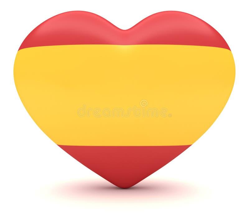 Spansk flaggahjärta, illustration 3d stock illustrationer