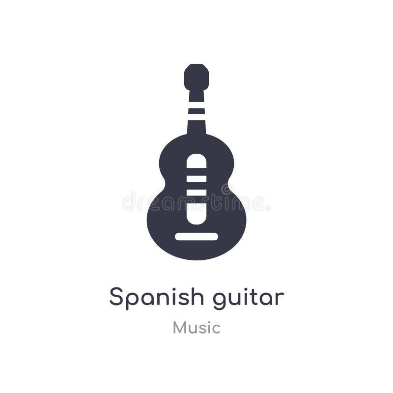 spansk gitarröversiktssymbol isolerad linje vektorillustration fr?n musiksamling spansk gitarrsymbol för redigerbar tunn slagläng stock illustrationer