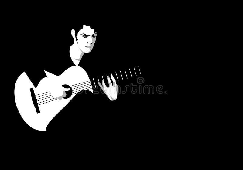 Spansk gitarrist som spelar flamenco på svart bakgrund stock illustrationer