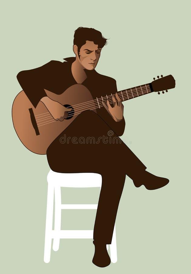 Spansk gitarrist som spelar flamencosammanträde på en stol royaltyfri illustrationer
