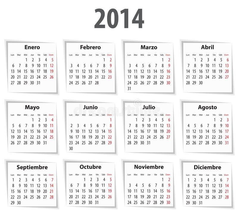 Spansk kalender för 2014 med skuggor. måndagar först stock illustrationer