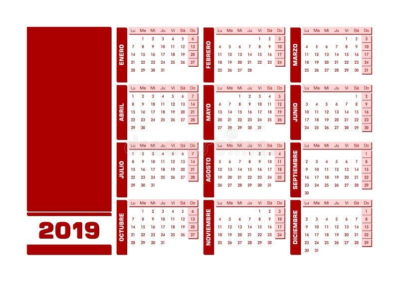 Spansk kalender röda 2019 stock illustrationer