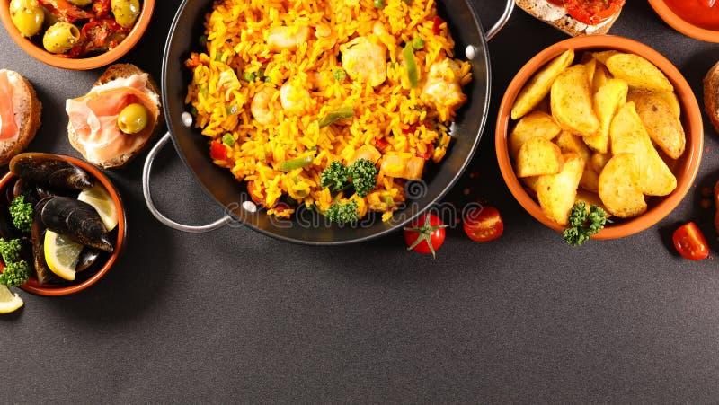Spansk matsamling, bästa sikt royaltyfria bilder