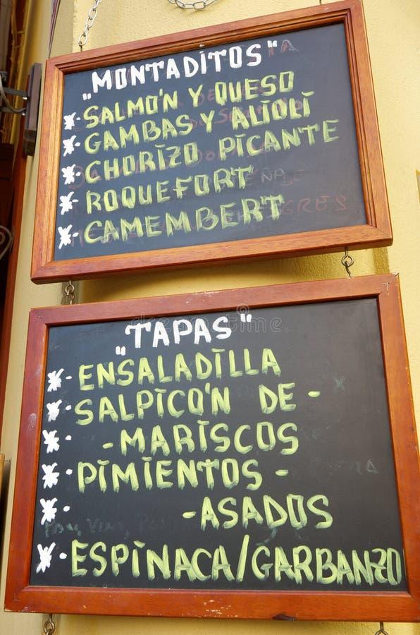 Spansk meny royaltyfria foton