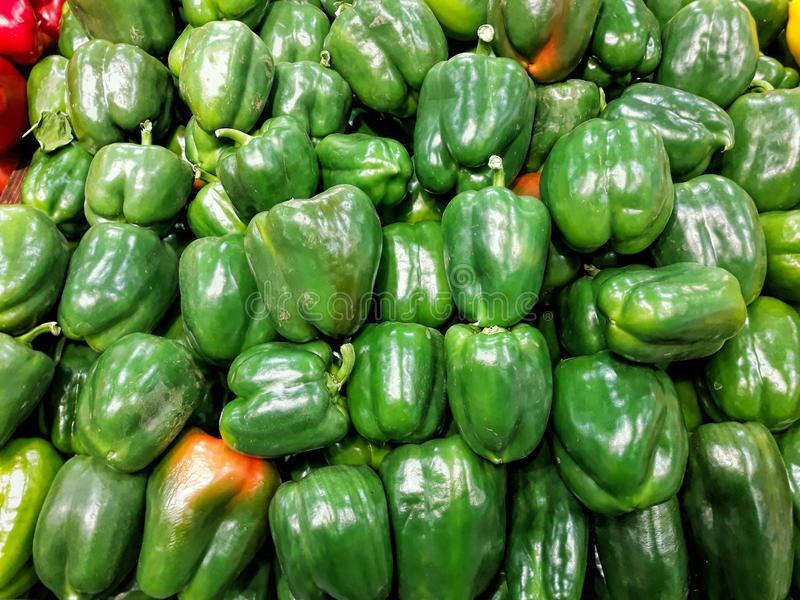 Spansk peppar Hög av nya gröna söta peppar som är till salu på att bruka marknaden royaltyfri bild