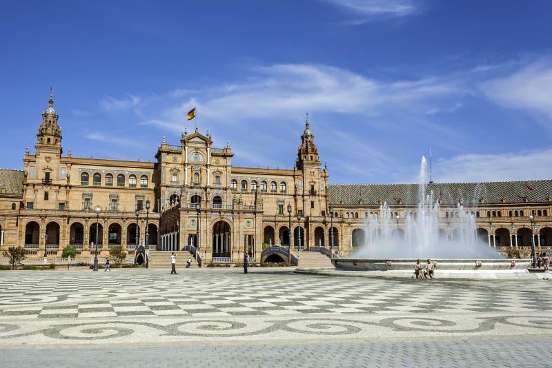 Spansk Plaza i Seville, Spanien royaltyfria foton
