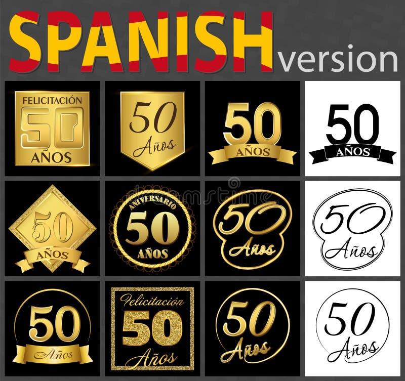 Spansk uppsättning av mallar för nummer 50 royaltyfri illustrationer