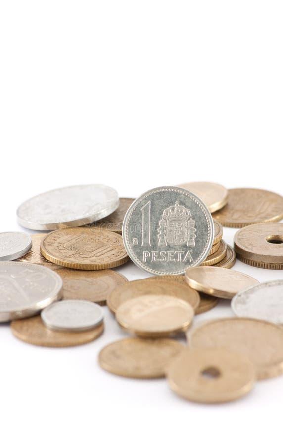 spansk vertical för valutaeuropesetas pre arkivfoton