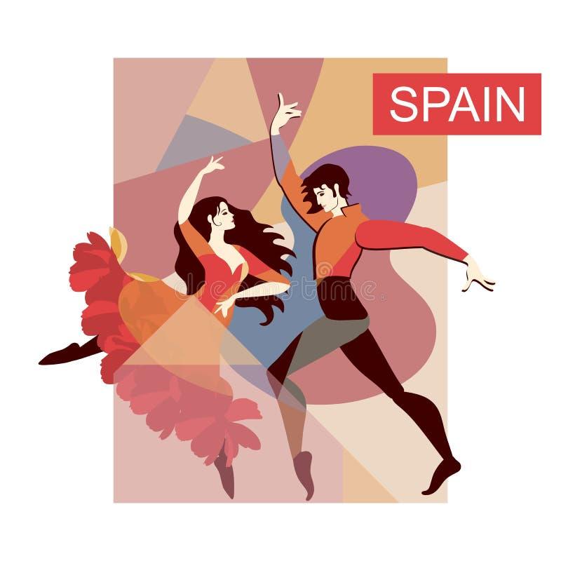 Spanska flamencodansare på etapp Polygonal bakgrund Dekorativt kort i vektor vektor illustrationer
