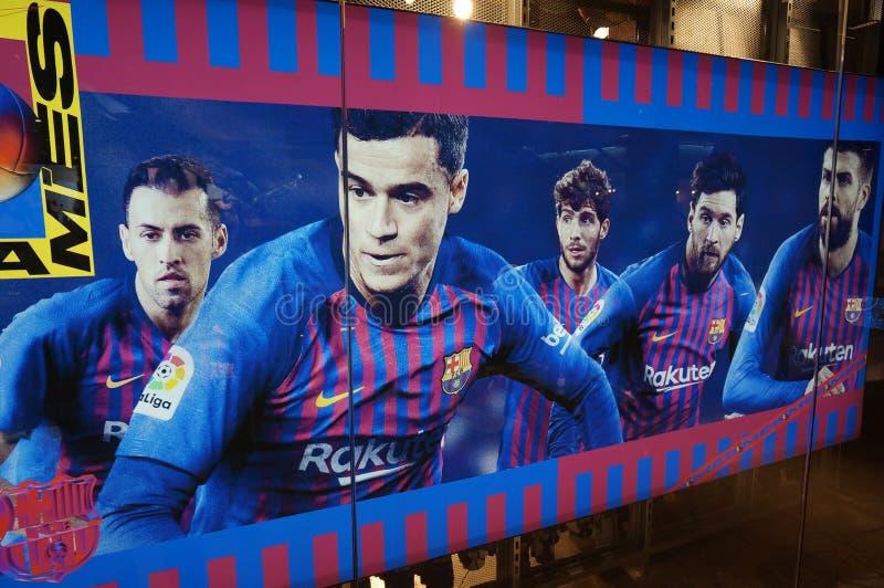 Spanska fotbollstjärnor i Barcelona arkivbilder