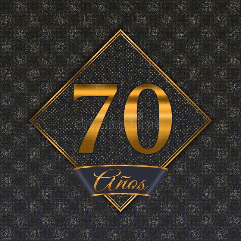 Spanska guld- mallar för nummer 70 royaltyfri illustrationer