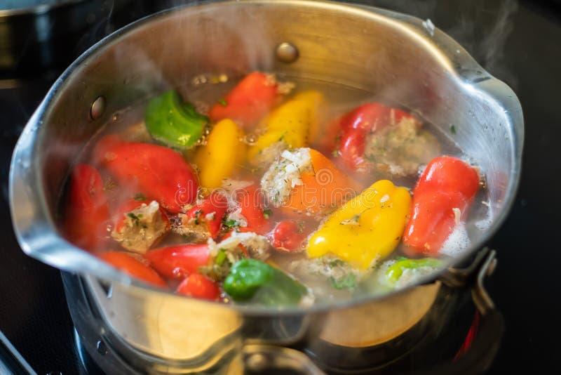 Spanska peppar som stoppas med ris och kött royaltyfri fotografi
