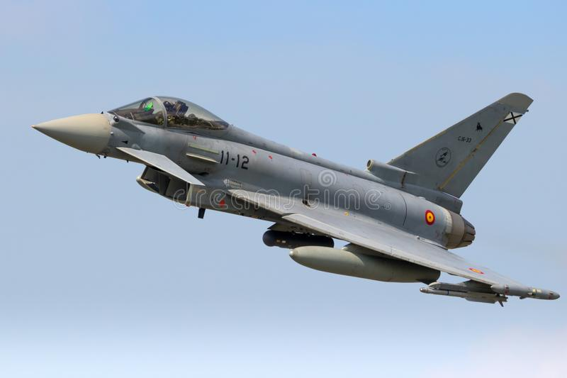 Spanskt flygplan för flygvapenEurofighter Typhoon jaktflygplan arkivbilder
