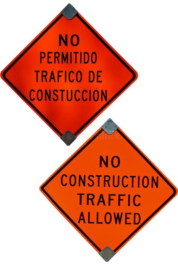 Spanskt tillåtet tecken för konstruktion som inte är engelskt och royaltyfri fotografi