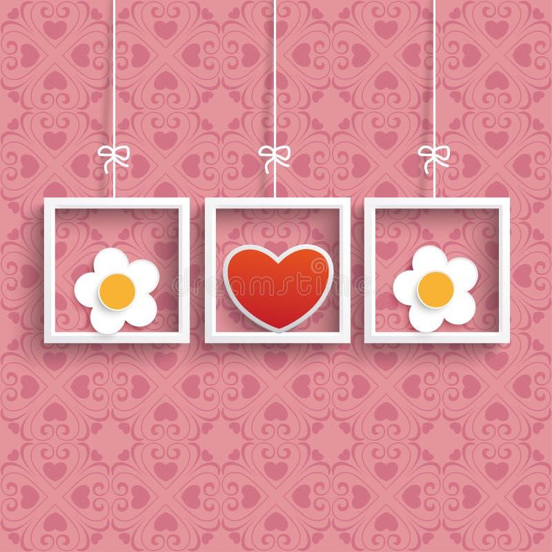 Spante 3 farbige Herz-Blumen-Verzierungen stock abbildung
