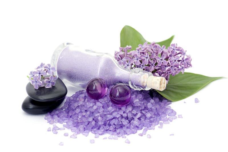 Spaprodukter och lila blommor arkivbild
