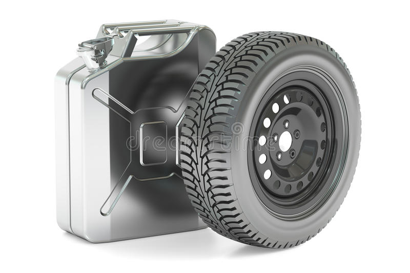 Spar wheel and canister, 3D rendering stock illustration