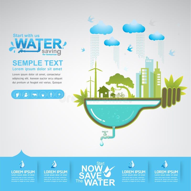 Spara besparingen för starten för vattenvektorbegreppet vektor illustrationer