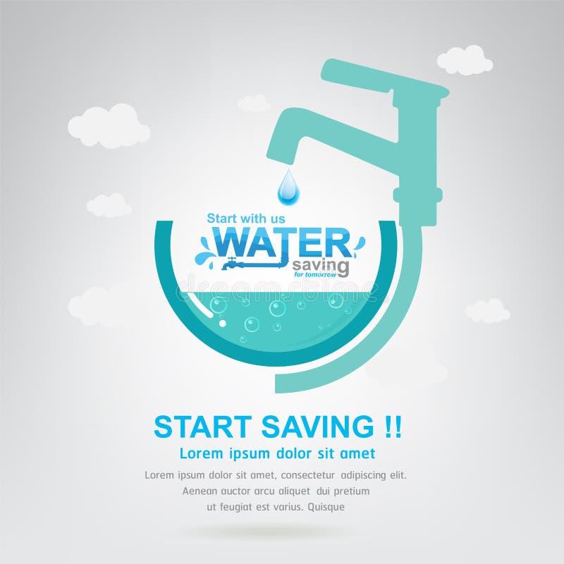 Spara besparingen för starten för vattenvektorbegreppet stock illustrationer