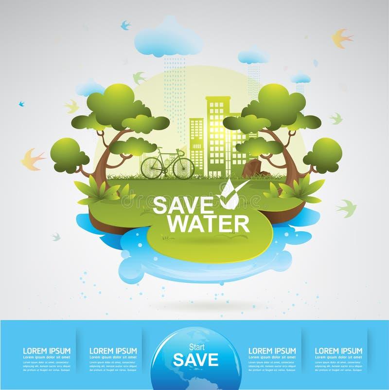 Spara besparingen för starten för vattenvektorbegreppet royaltyfri illustrationer