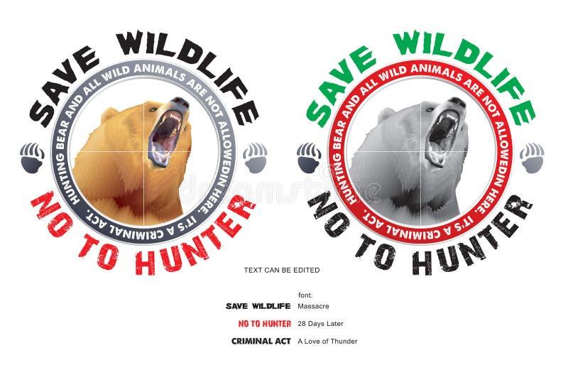 Spara björnen och spara djurliv stock illustrationer