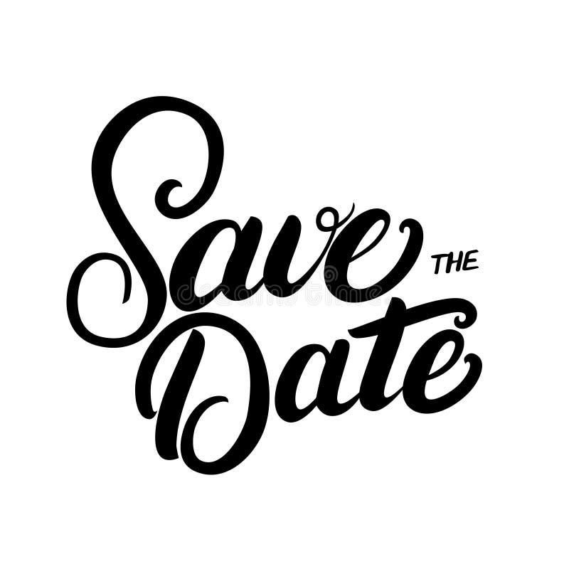 Spara citationstecknet för bokstäver för datumhanden det skriftliga för att gifta sig inbjudankortet vektor illustrationer