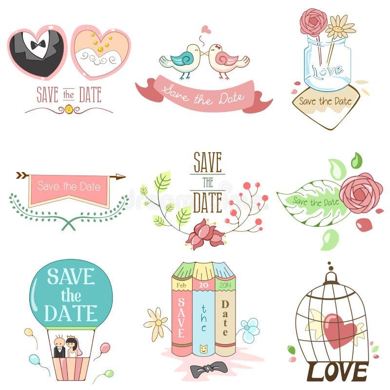 Spara datumet för att gifta sig vektor illustrationer