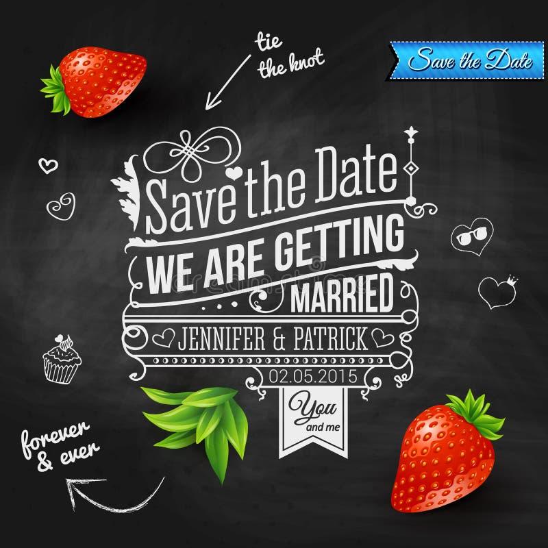 Spara datumet för personlig ferie. Bröllopinbjudan på chalkb stock illustrationer