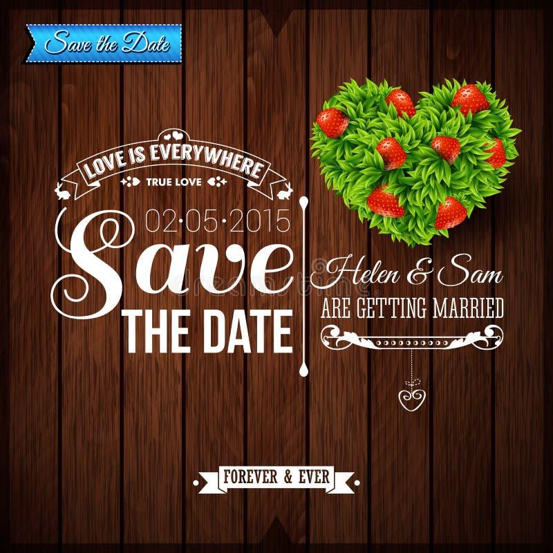 Spara datumet för personlig ferie Bröllopinbjudan på trä royaltyfri illustrationer
