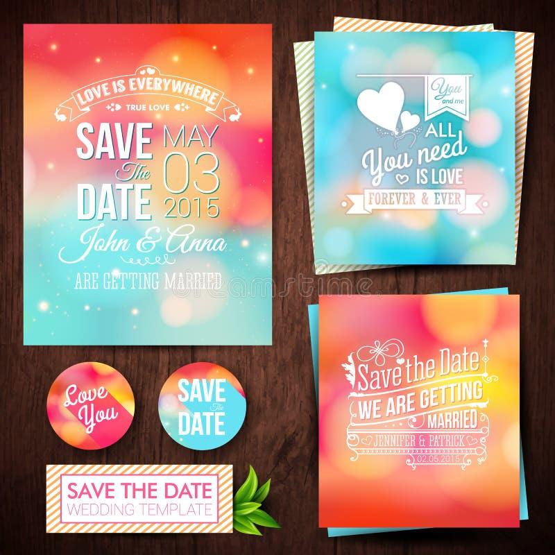 Spara datumet för personlig ferie Uppsättning av bröllopinbjudan ca royaltyfri illustrationer