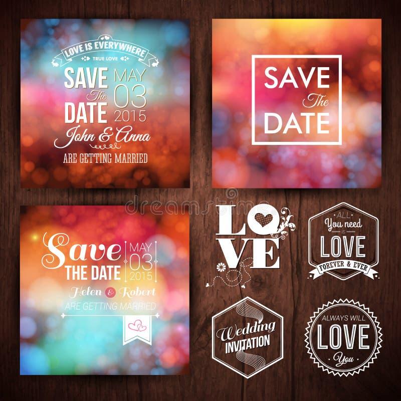 Spara datumet för personliga feriekort Bröllopinbjudanuppsättning vektor illustrationer