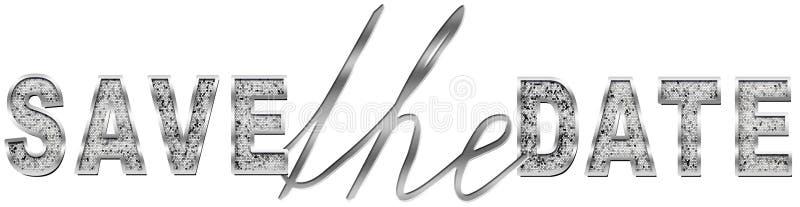 Spara datumet i silver royaltyfri illustrationer