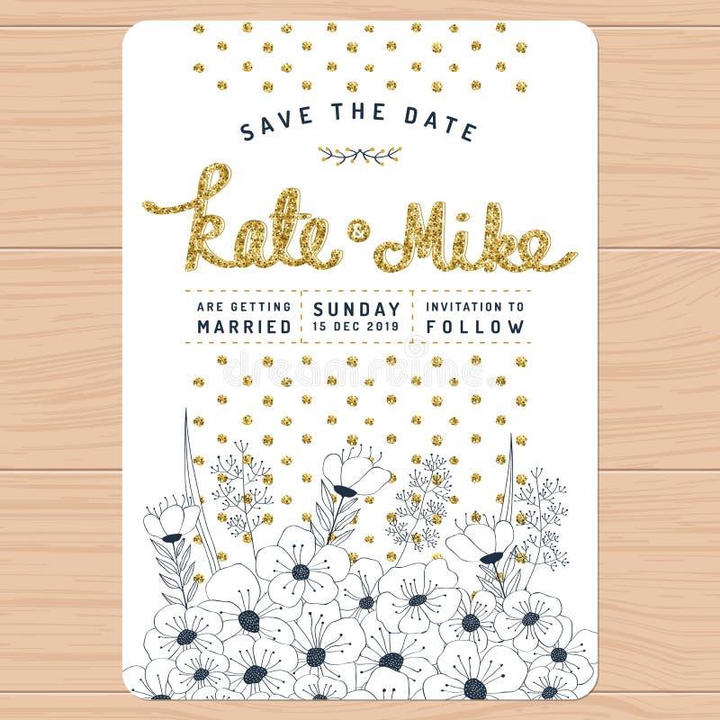 Spara datumet som gifta sig inbjudankortet med handen den blom- drog blomman, och guld- blänka garnering Blom- bakgrund för blomm royaltyfri illustrationer