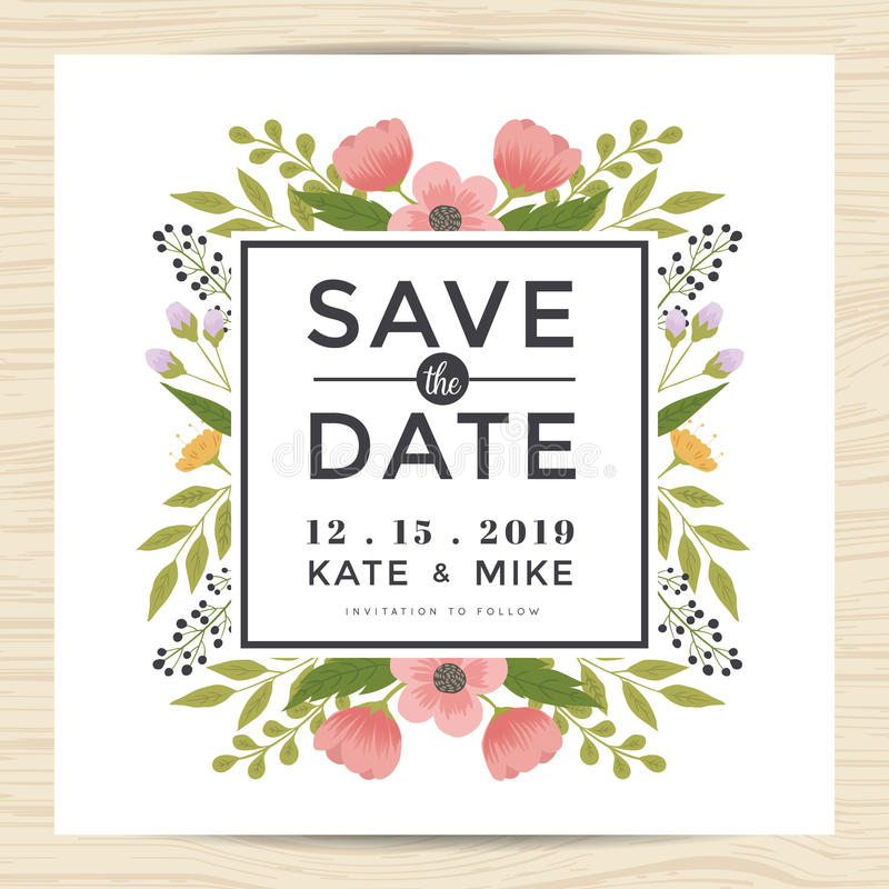 Spara datumet som gifta sig inbjudankortmallen med handen dragen stil för kransblommatappning Blom- bakgrund för blomma vektor illustrationer