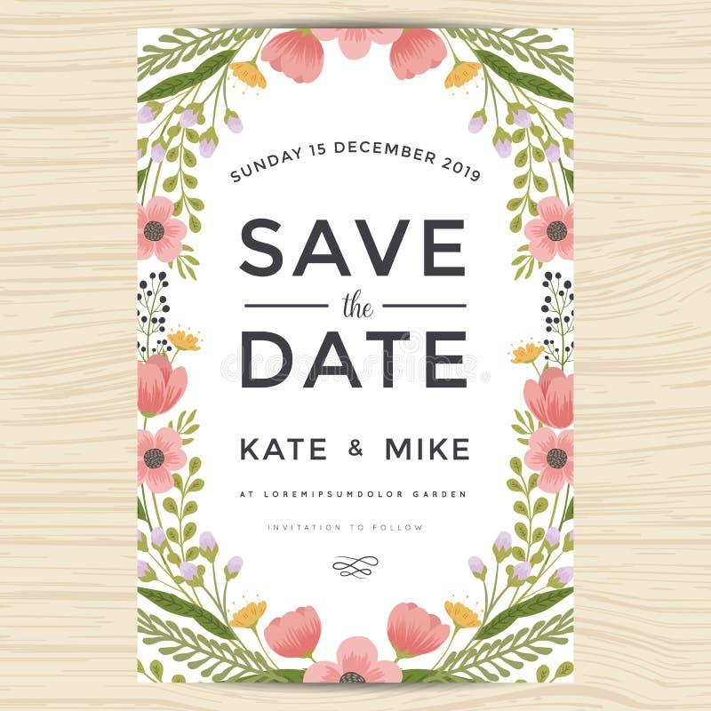Spara datumet som gifta sig inbjudankortmallen med handen dragen stil för kransblommatappning Blom- bakgrund för blomma royaltyfri illustrationer
