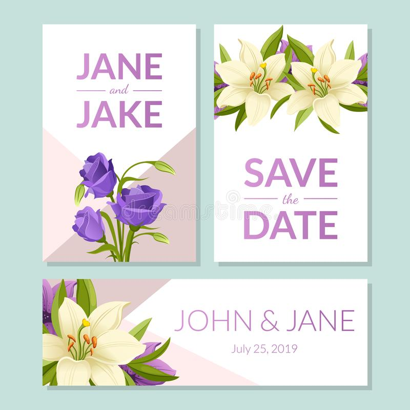 Spara datumet som gifta sig inbjudanmallar, ställer in, det blom- kortet med härliga eleganta blommor, ram med utrymme för text vektor illustrationer