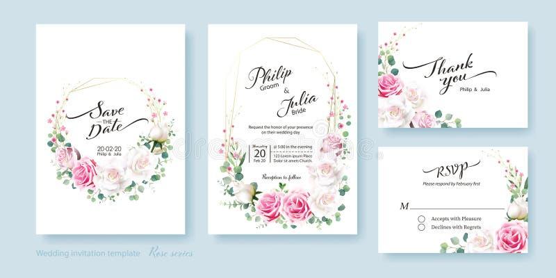 Spara datumet, tacka dig, rsvpmall, gifta sig inbjudankortet vektor Blomman f royaltyfri illustrationer